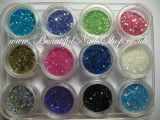 12 Neon glitter dust mixed with mini confetti - nail art set 1